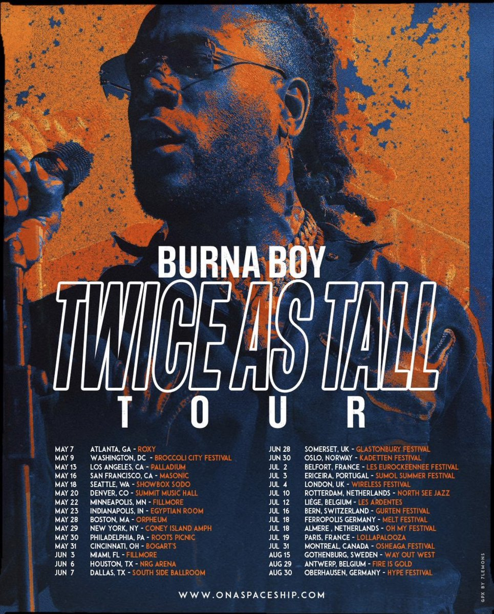 . @burnaboy TOUR! Get your tickets today! #UTAMusic