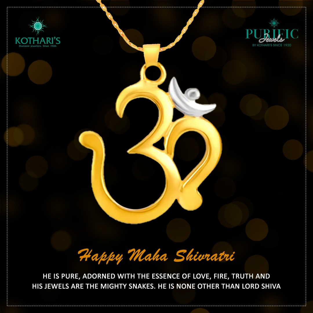 He is pure, adorned with the essence of love, fire, truth and his jewels are the mighty snakes. He is none other than Lord Shiva. Happy Maha Shivratri.  #Mahashivratri2020 #Shiva #HarHarMahadev #KotharisJewellery #PurificJewels #DiamondJewellery #Jewellery #JadauJewellery pic.twitter.com/bijM6ETX8P
