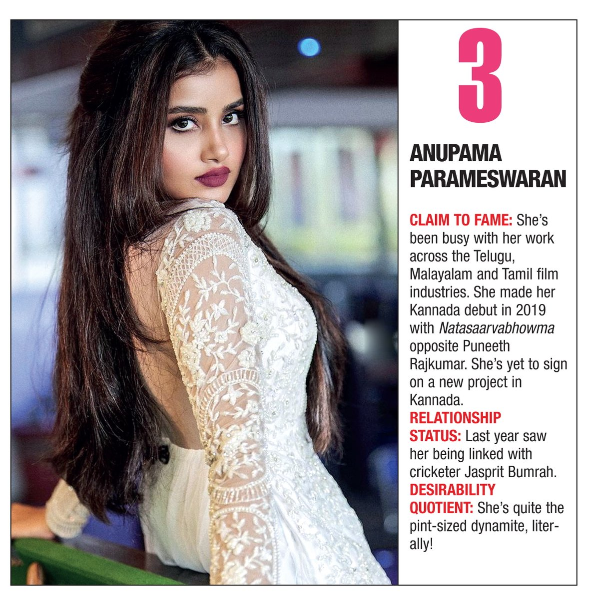 .@anupamahere made her way into the hearts of Kannada audiences with her debut in 2019 with Natasaarvabhowma, and has clinched the third spot on our list! #BangaloreTimesMostDesirable #BangaloreTimesMostDesirableWomen2019 #AnupamaParameswaran #BTMostDesirable2019