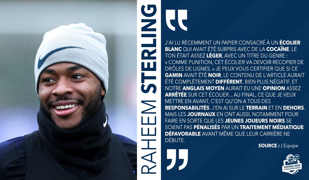 [#Racisme✊] Raheem Sterling sur la traitement des joueurs noirs dans les médias britanniques 🗣 💥 (LEquipe) 🔗 lequipe.fr/Football/Artic…