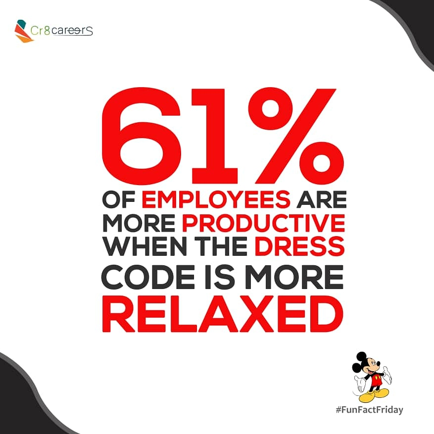 61% of Employees Are More Productive When The Dress Code Is More Relaxed  Did You Know? #FunFactFriday . Follow Us #Cr8Careers . #Recruitment #Outsourcing #Assessments #OccupationalInterests #HRNigeria  #vacancy #hiring #TGIF #friday #interview #DressCode #Relaxtion #Relaxpic.twitter.com/hvBc0kVh0j
