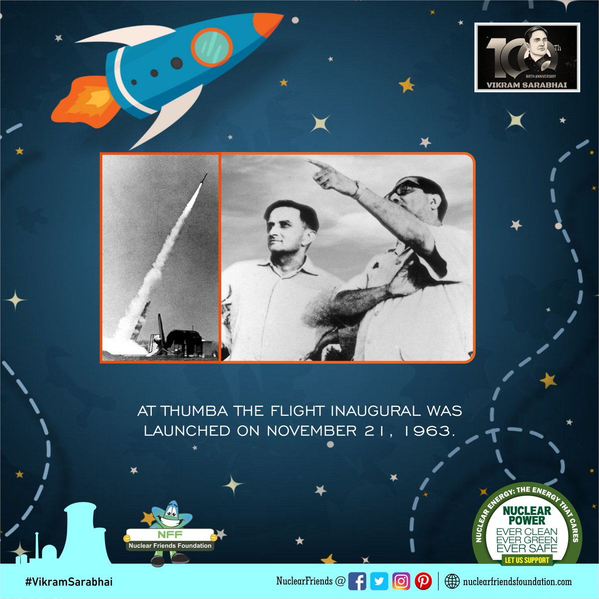 At THUMBA the flight inaugural  was launched on NOVEMBER 21, 1963.  Reach us @ http://nuclearfriendsfoundation.com  #NuclearPower #NuclearEnergy #Evergreen #NuclearFacts #WeekendVibes #VikramSarabhai  @iaeaorg @W_Nuclear_News  @WorldNuclearUni @WorldNuclear