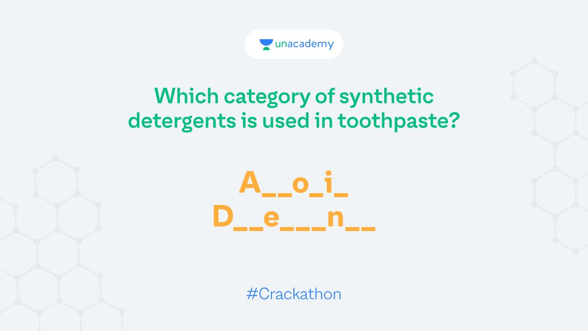 Hint: They have anions at the soluble ends of the chains. Participate and stand a chance to win exciting goodies!  #LetsCrackIt #ContestAlert #Crackathon #ContestAlertIndia