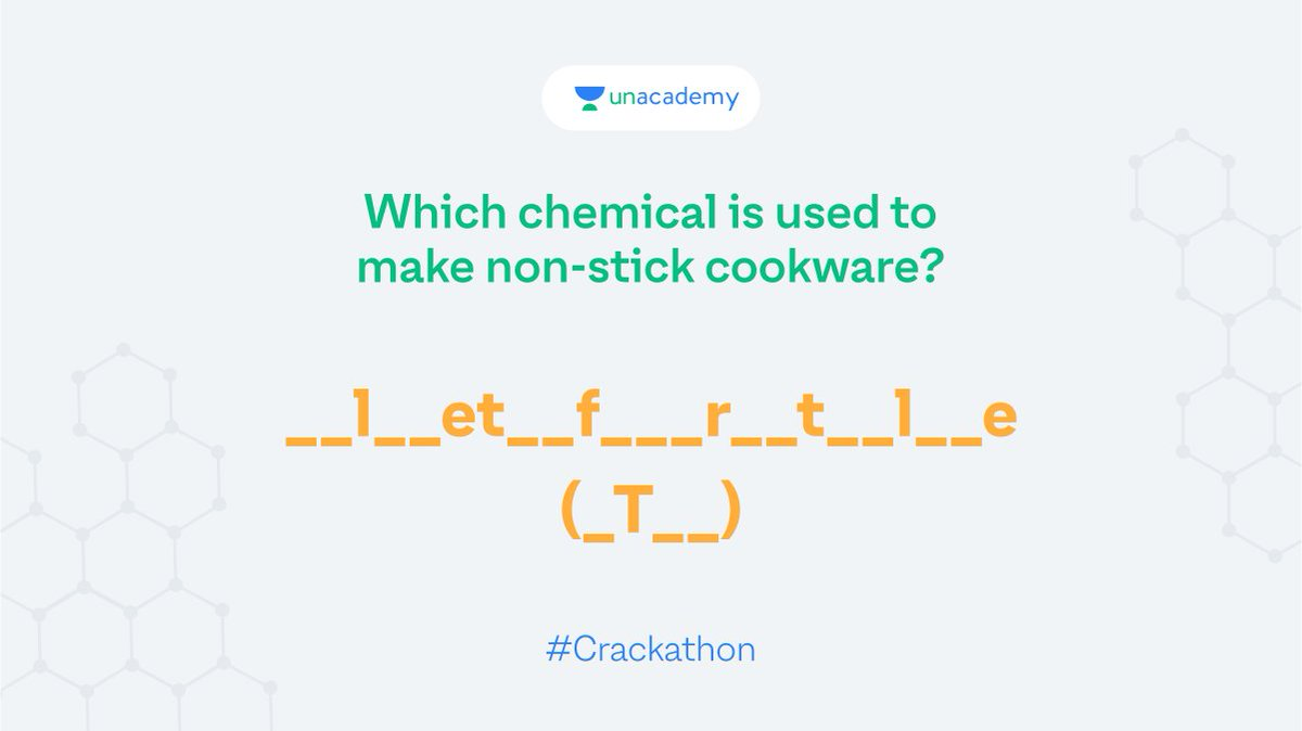 Hint: Teflon is the trade name of the same polymer.  Participate and stand a chance to win exciting goodies!  #LetsCrackIt #ContestAlert #Crackathon #ContestAlertIndia