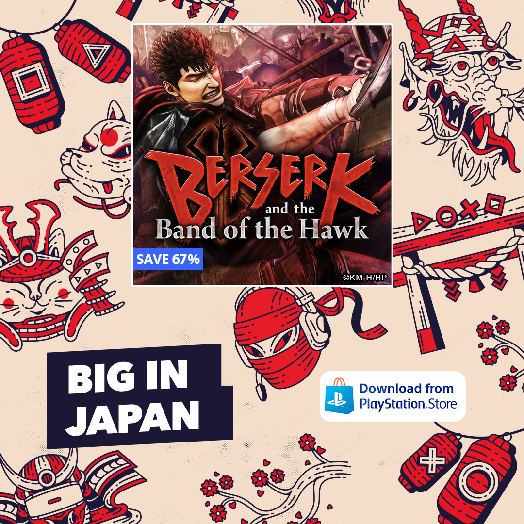 Follow the gripping tale of Guts and the Band of the Hawk in a gruesome Warriors game like no other. Experience the renowned story at a special discount for a limited time in the #BigInJapan sale.    #Berserk #BerserkandtheBandoftheHawk #KTFamily