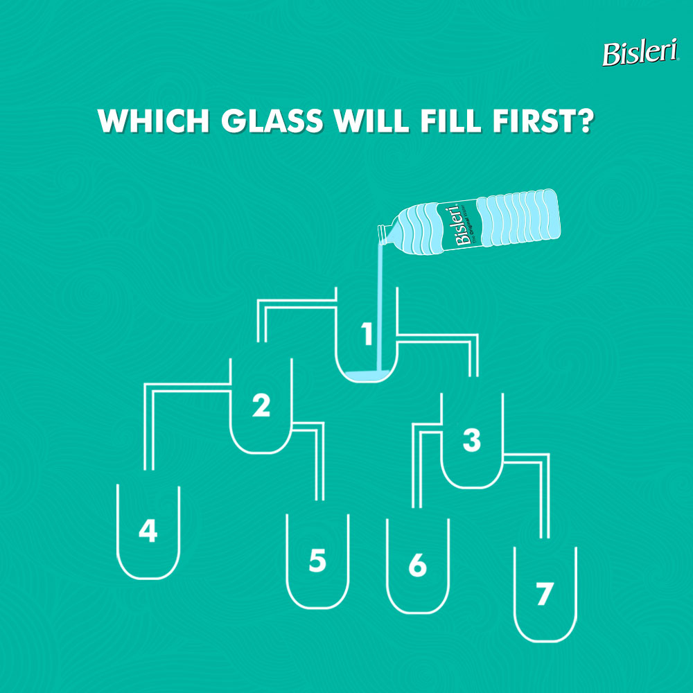 This week's #BisleriFriyayChallenge will put your logic to test. Which glass you think will fill first. Comment in the section below. #BisleriFriyayChallenge #TGIF #FunFriday #ContestAlert #Contest #Weekend #WeekendIsHere #FunFriyay
