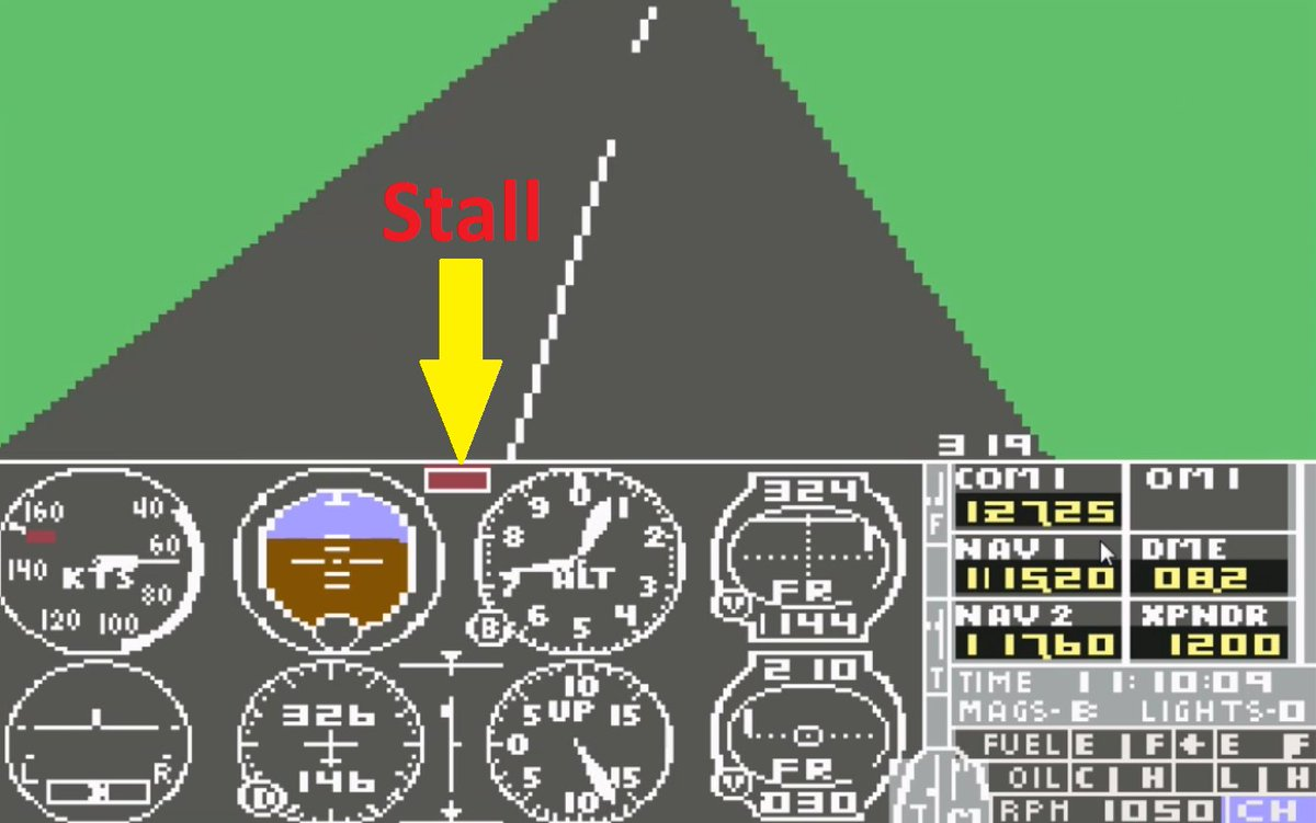 I really hate when this happens...  #stall #sublogic #commodore64 #c64 #flightsimulator https://t.co/vBKvDpSOzC