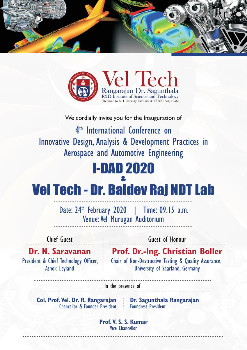 #Vel_Tech Cordially invite you for the 4th InternationalConference on Innovative, Design, Analysis & Development Practices (I-DAD 2020) in Aerospace and Automotive Engineering pic.twitter.com/YbzteRptzN