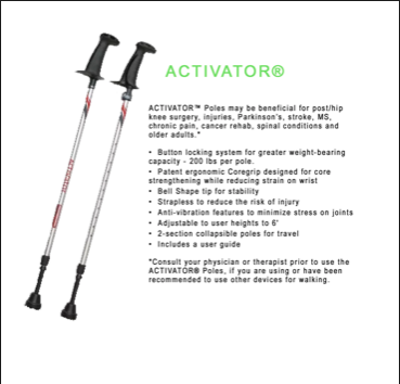 Know someone who has balance or stability issues? Try seeing how our ACTIVATOR poles can help. #Ergonomic #Functional #FitnessImproving