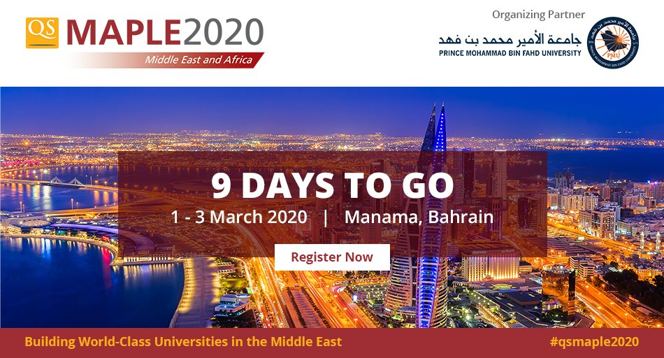 Just 9 days to go for #QSMaple2020!   Do not miss this opportunity to meet with decision-makers and experts in the #MiddleEast and Africa area, build new partnerships and learn about best practices.     Registration closing soon: http://bit.ly/qsmaple2020   #highered #universitiespic.twitter.com/OVrOpyHYZI