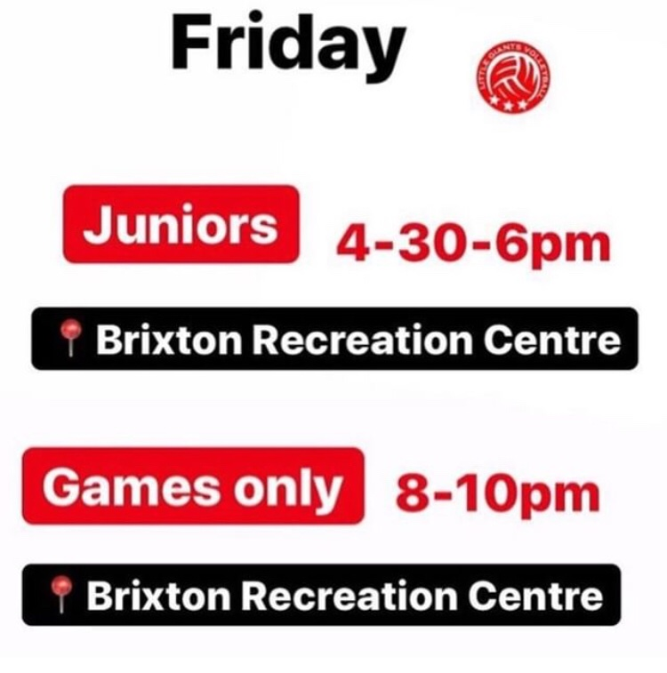 Get in shape for the weekend with our Friday sessions. After school session for Juniors and late Games only for the growners. #volley #volleyball #socialfriday #juniors #Brixton #brixtonlondon #southlondon #sport #active #southeastlondon #game #training #comehavefunpic.twitter.com/LG6iAPeQsD