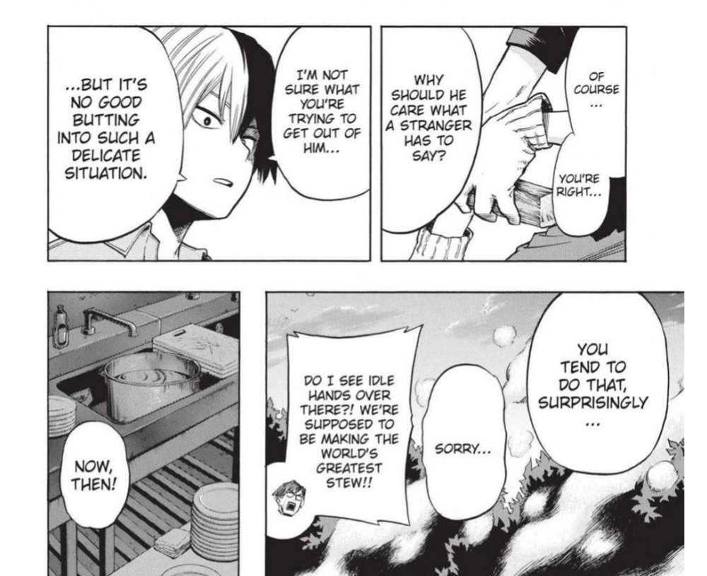 you tell him todoroki!!  for as much as deku would like to help as per the Shounen Protagonist Standards, the reality of it is....... IT'S REALLY INSENSITIVE TO NOSE IN ON SOMEONE ELSE'S BUSINESS..... please don't do that unless they're really open and willing for your help pic.twitter.com/FK4auj4s5R