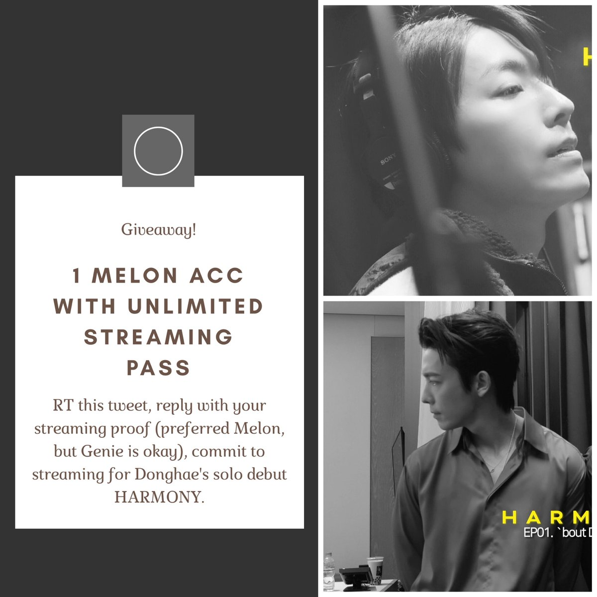 [HELP RT]   GIVEAWAY FOR CELEBRATE DONGHAE'S SOLO DEBUT   People forget to follow the rules in my previous tweets  This Melon acc is for 2 persons. And you can reply with your thread or screenshots from 2YA2YAO's streaming.   DEADLINE: 22 February, 23.59 WIB. <br>http://pic.twitter.com/Qkz5LFz5gZ