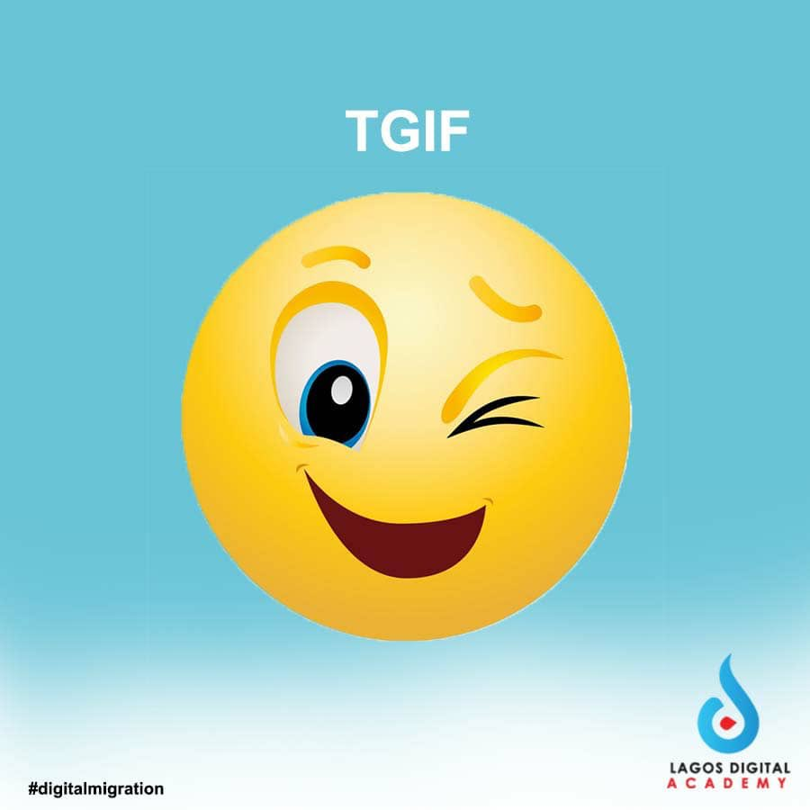 Yay! We just have to say Thank God it's Friday!!!  #lagosdigitalacademy  #digitalmigration #digitaltraining #digitalmarketingtraining  #Tgif  #fridaymood #Digitalmarketingtraining  #Weekendgroove.pic.twitter.com/DLXpCNyrpL