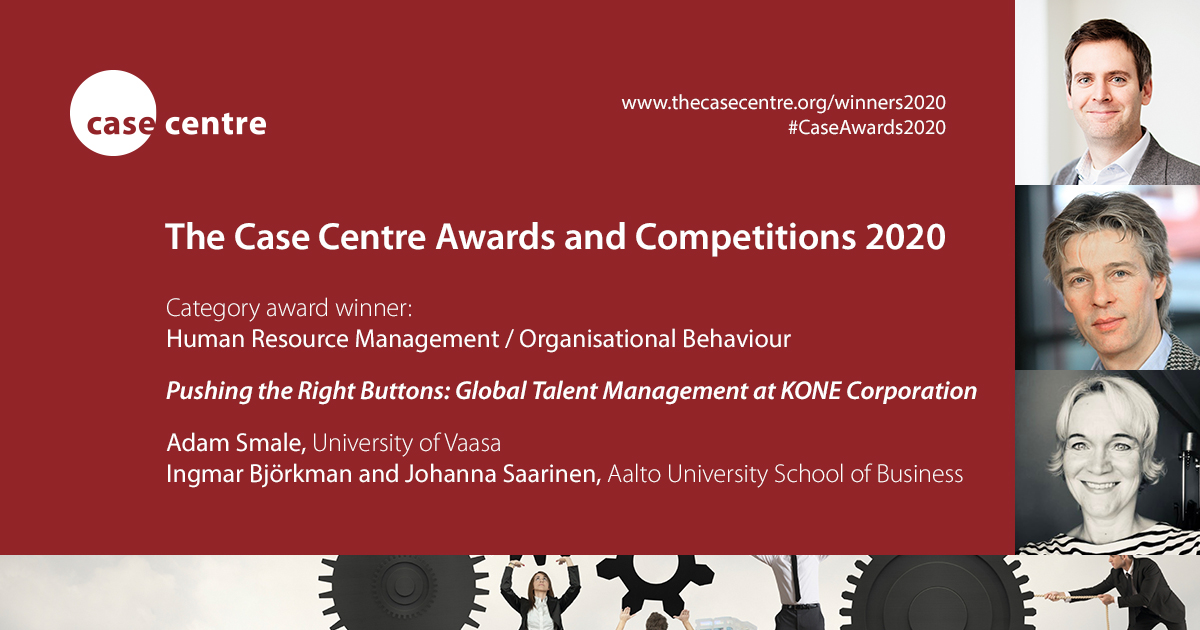 Dean, professor of #management Adam Smale @DrSmale co-authored teaching case 'Pushing the Right Buttons: Global Talent Management at @KONECorporation' has been declared the winner of the HRM / Organisational Behaviour Category Award in @TheCaseCentre #CaseAwards2020