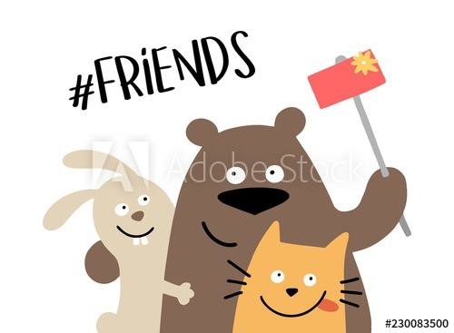 Three happy animal friends makes the selfie with smartphone   #illustration #vector #friends #friendships #bear #bunny #rabbit #cat #kitten #relationshipgoals #forever #selfie