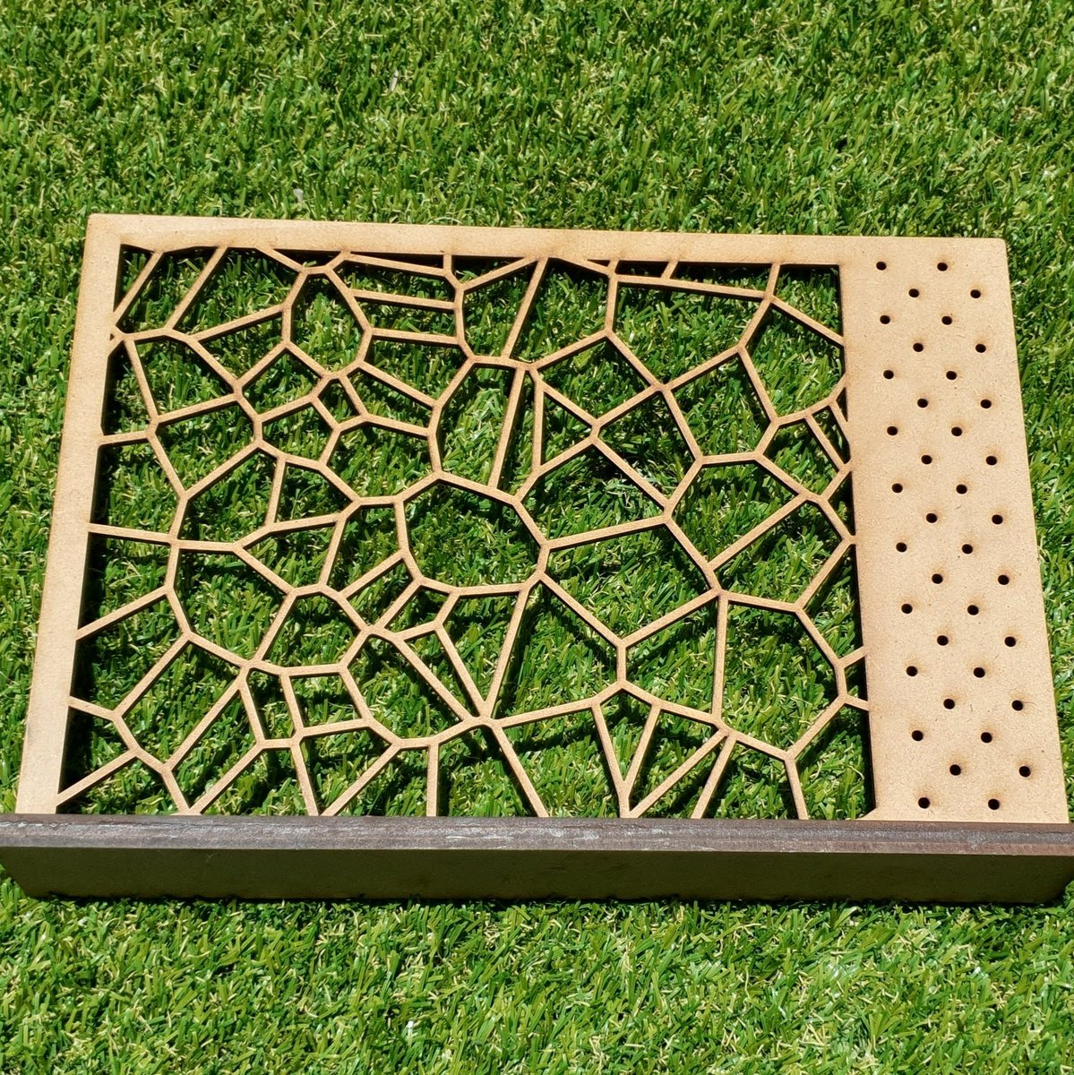 #Organic #Voronoi patterned #earring #rack in hand waxed pine. Measuring in at 29cm x 20cm this rack has enough space for plenty of #quirkish earrings, without taking up too much room.  #laserCut #Queensland #artisan #designer