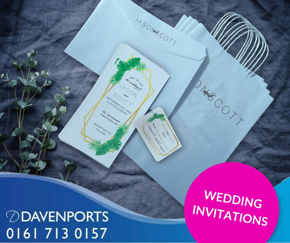 Printed on top-notch materials, in different shapes, sizes, with luxurious finishing options to choose from, our wedding invitations will make sure your special day starts off in style!  ☎️0161 713 0157 📧bury@davenportsprinters.co.uk  #Printers #WeddingInvitation #Wedding