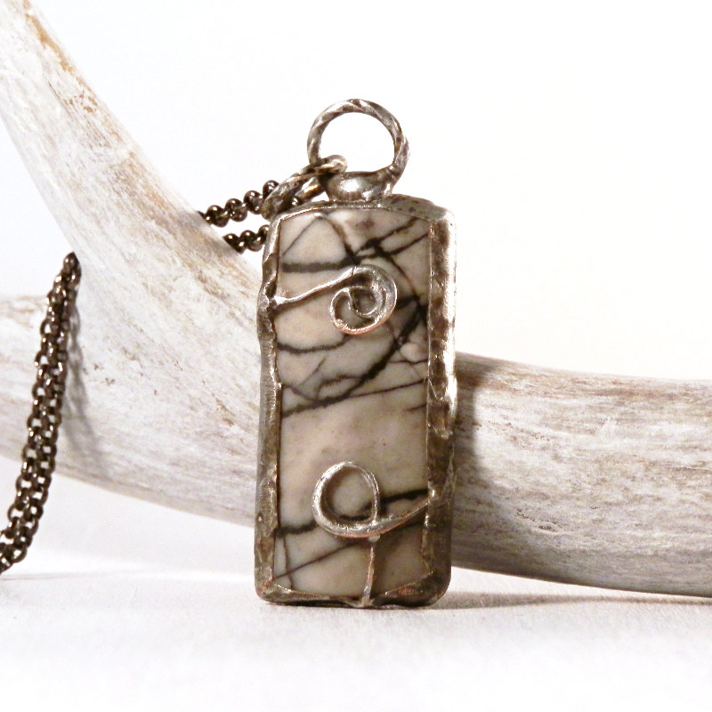 Spider web jasper necklace - picasso jasper - silk stone pendant - boho style - gray black - metalwork jewelry - artisan jewelry - soldered  #woodland #realflower #handmade #terrarium #beach #boho #JasperNecklace
