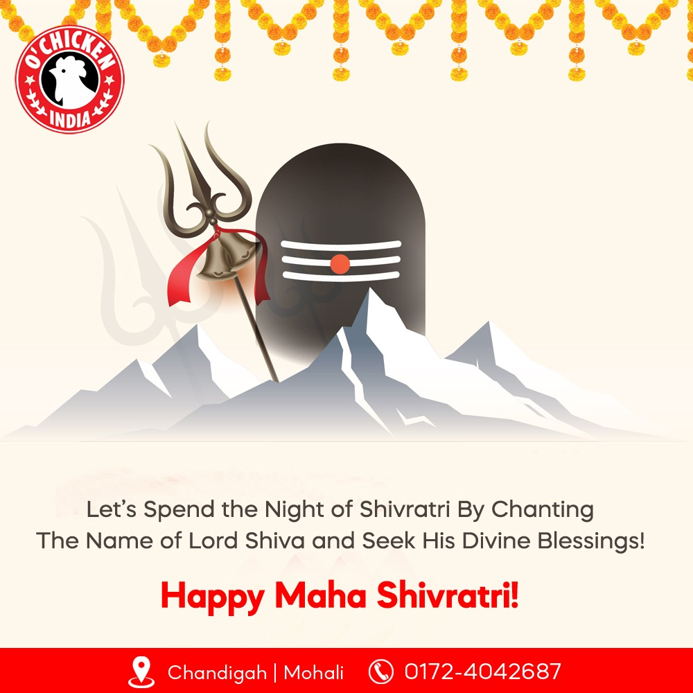 O'chicken wishes a very Happy MAHASHIVRATRI to all the foodies! Chase the flavours beyond the boundaries of taste. #restaurants #food #restaurant #foodie #hotels #instafood #chef #foodstagram #dinner #foodies #drinks #delicious #foodphotography #cafe #restaurantes #lunch