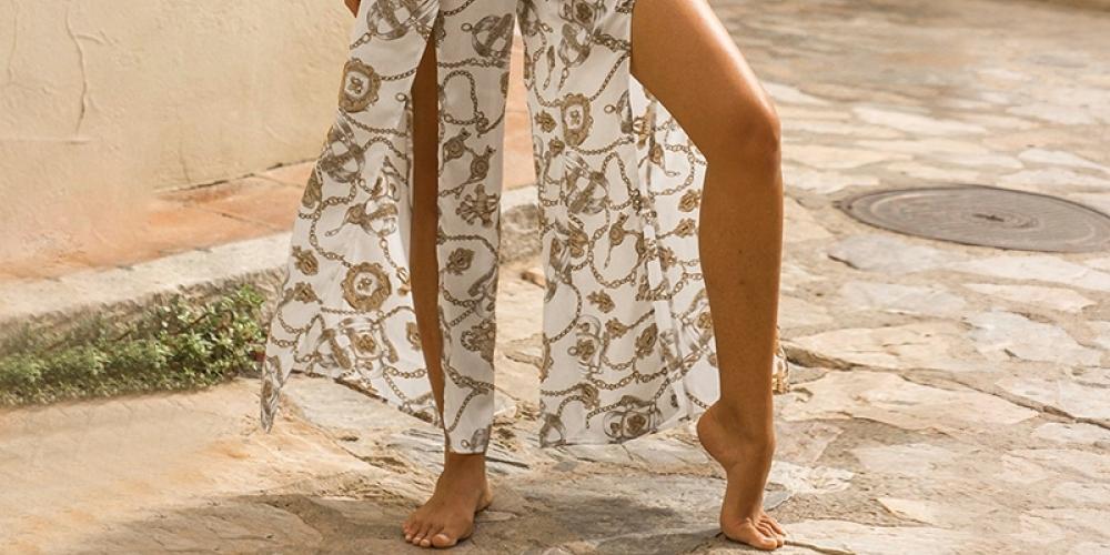 #beach #indie Chiffon overall Casual beach split jumpsuit