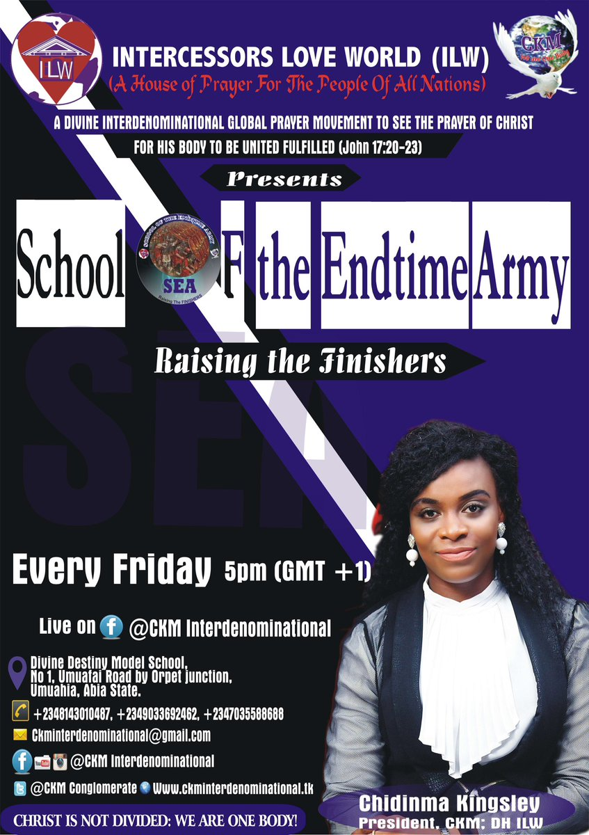 God is now putting together His Endtime Army-The Finishers. Live on Facebook@CKM Interdenominational Christ is not divided: We are one Body! <br>http://pic.twitter.com/3E9hoQbrgn