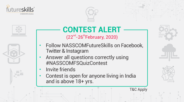 #NASSCOMFutureSkills brings you the #NASSCOMFSQuizContest which is sure to inspire the genius in you! Answer all 5 ques correctly and stand a chance to win Amazon gift vouchers worth 1K. Participate, share & tag your friends!  T&C: http://bit.ly/2SMITnY    #ContestAlert #Contest