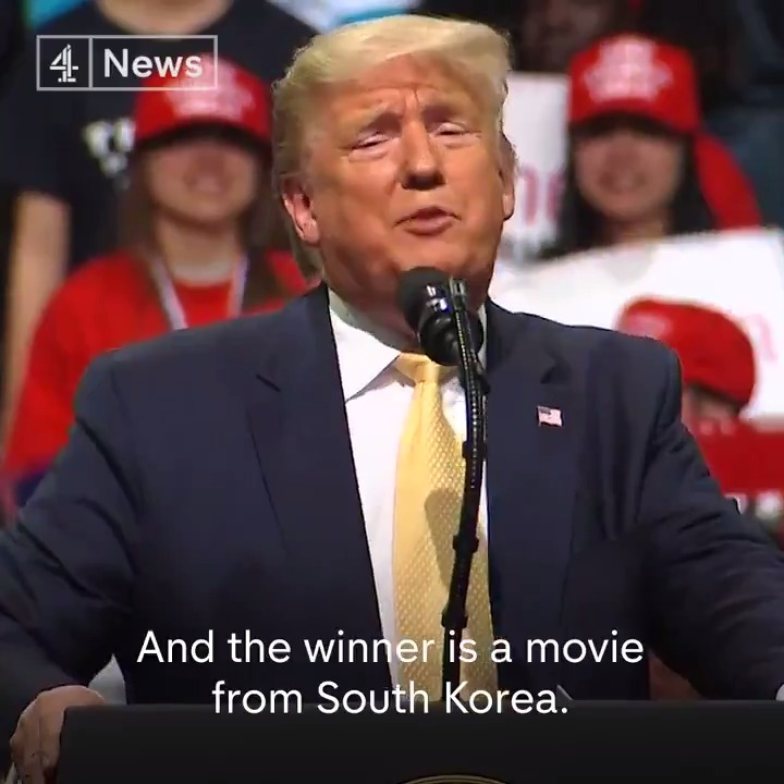 """And the winner is a movie from South Korea. What the hell was that all about?""  President Trump mocks the Oscars for awarding best picture to Parasite, the first foreign film to take home the top prize."