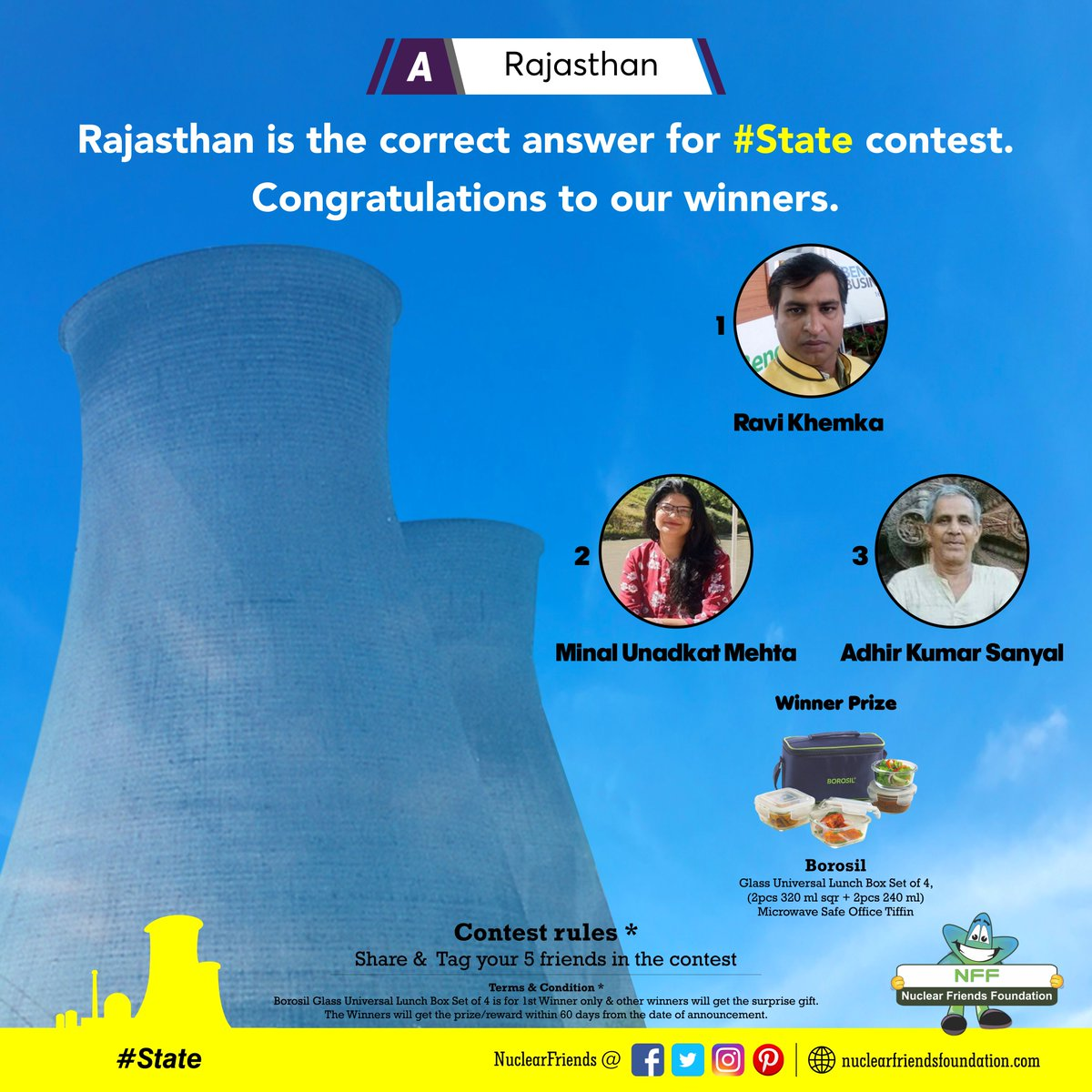 #ContestWinner A. Rajasthan option is the correct answer for #State contest. Congratulations to our winners.  Reach us @ http://nuclearfriendsfoundation.com  #Contest #like #RT #comment  #Win #prizes #Today #goodluck #giveaway #competition  #FridayFeeling #FridayThoughts #Mahashivratri