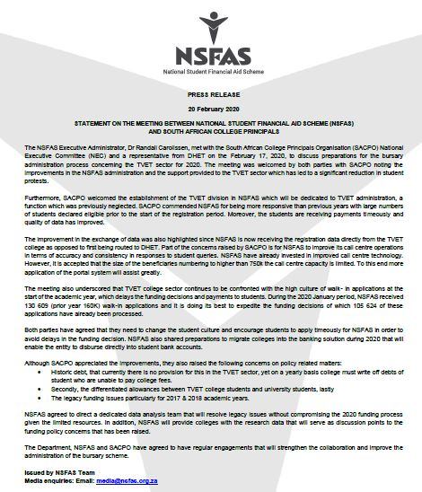 PRESS RELEASE: STATEMENT ON THE MEETING BETWEEN NSFAS AND SOUTH AFRICAN COLLEGE PRINCIPALS https://t.co/NzoVva6DuQ