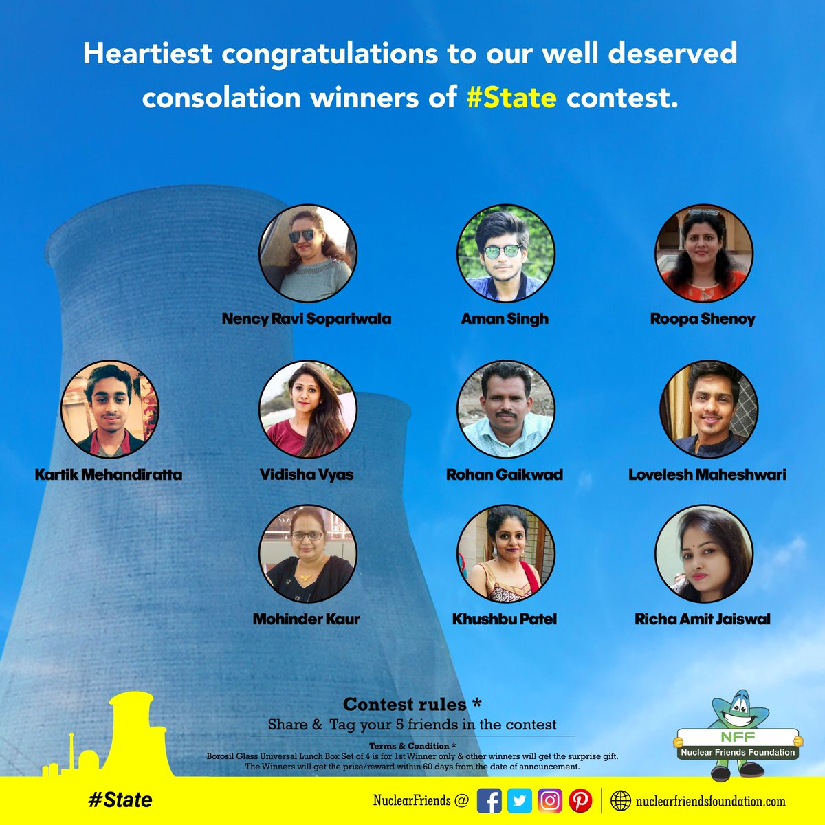 #ContestWinner Heartiest congratulations to our well deserved consolation winners of #State contest.  Reach us @ http://nuclearfriendsfoundation.com  #Contest #like #RT #comment #chance #Win #prizes #Today #goodluck #giveaway #competition #FridayFeeling #FridayThoughts #Mahashivratri