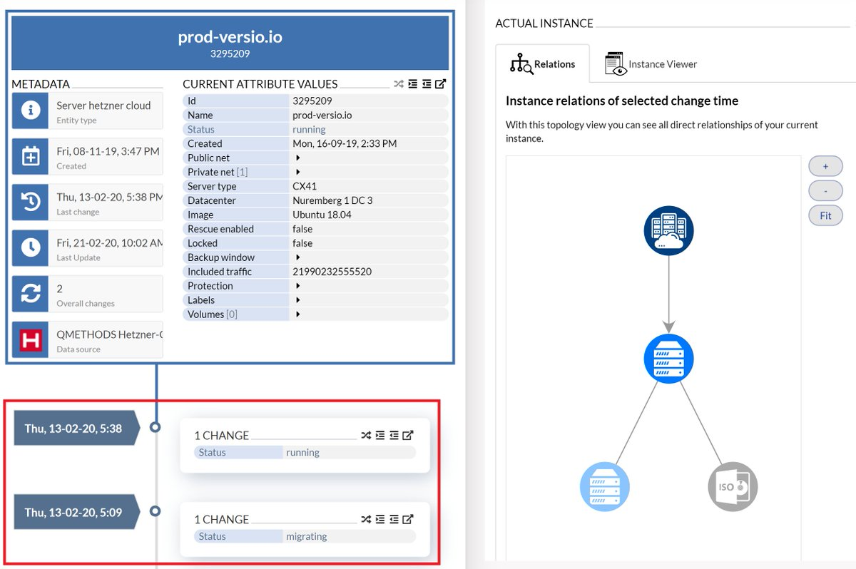 The  #CMDB helps you identify where #changes in your IT by your service providers are occurring. Example shows our cloud provider @Hetzner_Online has apparently migrated a VM. Good that it is so easy to observe!  #automation #monitoring