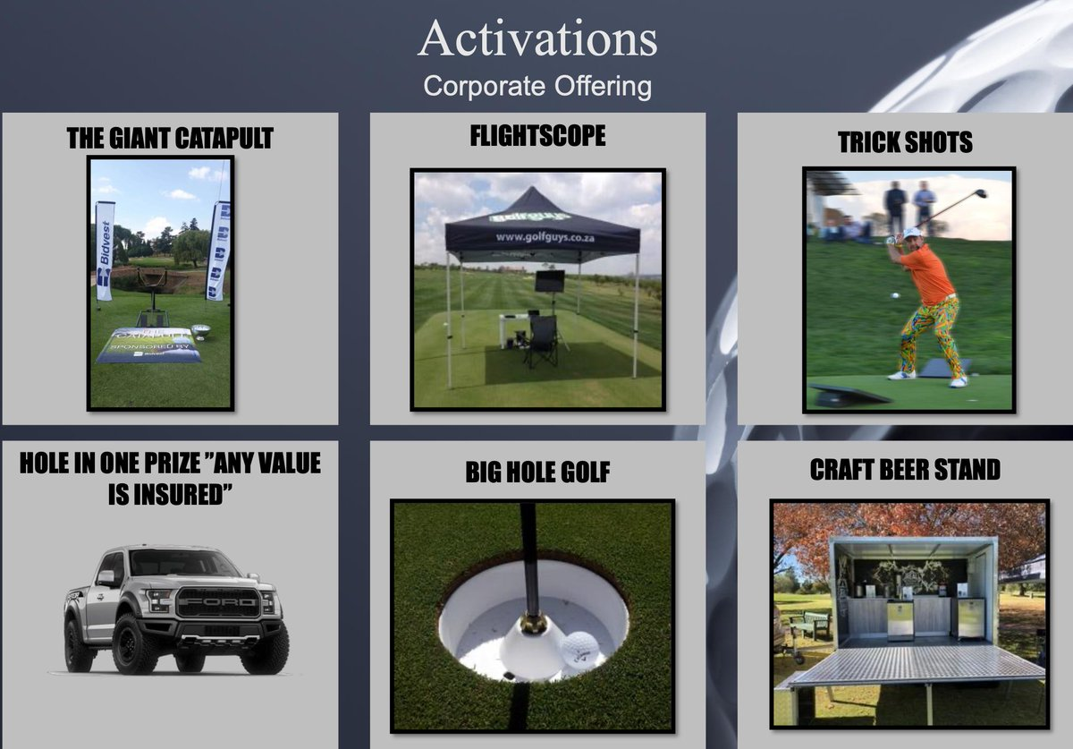 For the corporate clientele who would prefer to stand out from the clutter.  Collective thinking and rebate deals on bulk bookings of 12 or more activations throughout the year.  More https://golfguysonline.co.za/presta/16-event-activities … or email sean@golfguys.co.za . #GolfGuys #golflife pic.twitter.com/KkDJ0dEO4n