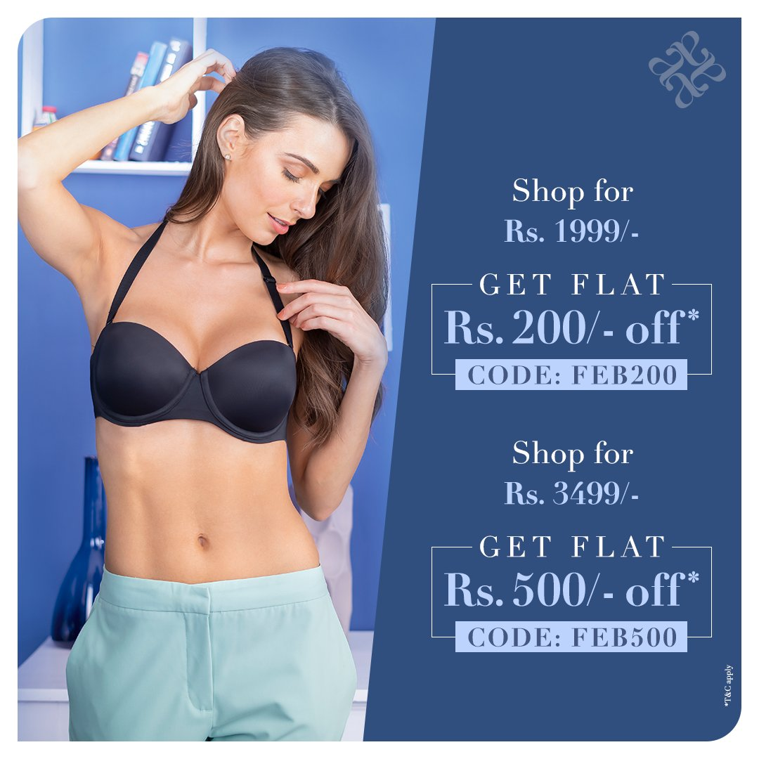Saturday mood: Stocking up on all the favourite #bras before they're gone. Get FLAT Rs. 200 off* on the minimum purchase of Rs. 1,999/- or FLAT Rs. 500 off* on the minimum purchase of Rs. 3,499/- Offer valid online at http://bit.ly/LingerieOnOffers…, till 29th February. *TCA #amantéIndia