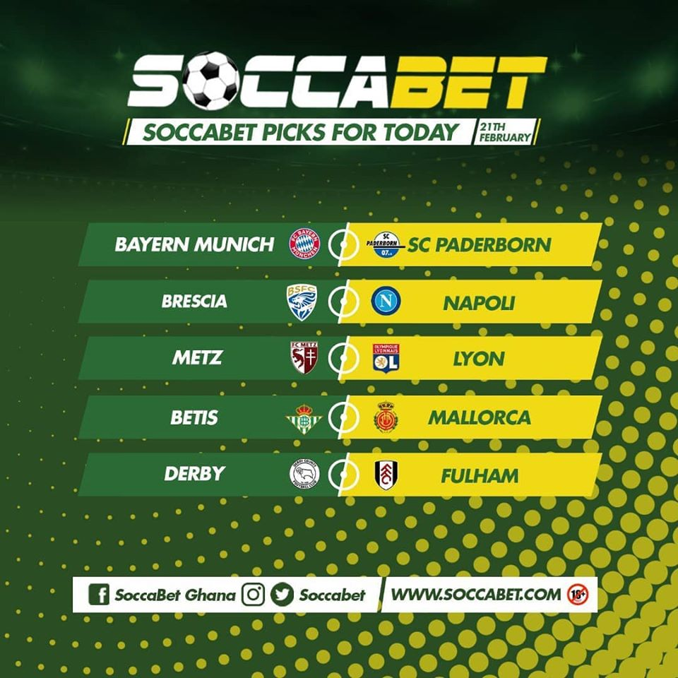 .@soccabet picks for today.  Who are you betting on?  Remember to bet at http://www.soccabet.com  #sportsbetting #football #bettingexpert #onlinebetting #soccabet #winwithsoccabet #betwithsoccabet #DaybreakHitz #FeelMeOUTNOW #HuntersTVpic.twitter.com/WFpZbsm4Vj