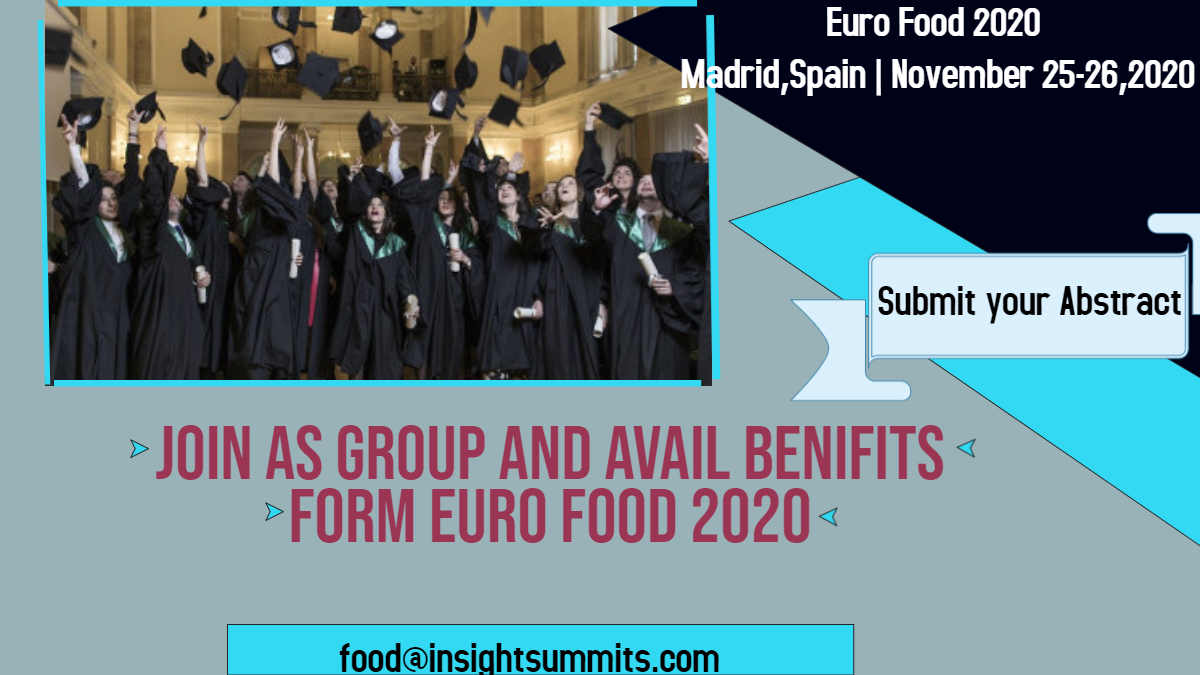 Explore  your Ideas and views at #Food and #Nutrition , share your thoughts at #Euro_Food_2020 at Madrid, Spain during November 25-26, 2020. Contact us: food@insightsummits.com Visit:  #food_conference