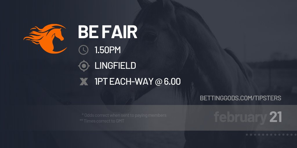 Our free racing tip for today, provided by The Bookies Enemy:  13:50 Lingfield, Be Fair  Learn more at https://www.bettinggods.com/betting-gods-tipsters/the-bookies-enemy/?utm_source=twitter&utm_medium=social&utm_campaign=freetips…  #befair #lingfield #horseracing #racing #betting #bettingtips #bettingexpert #bettingadvice #bet #odds #sportspic.twitter.com/eL6mSKKKBC