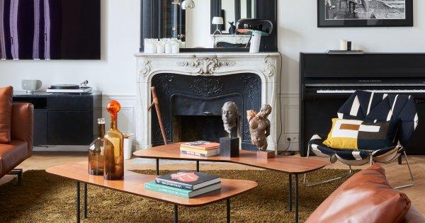 L'haussmannien se frotte aux photos et au mobilier contemporains. Un mix bien vu ! #Design