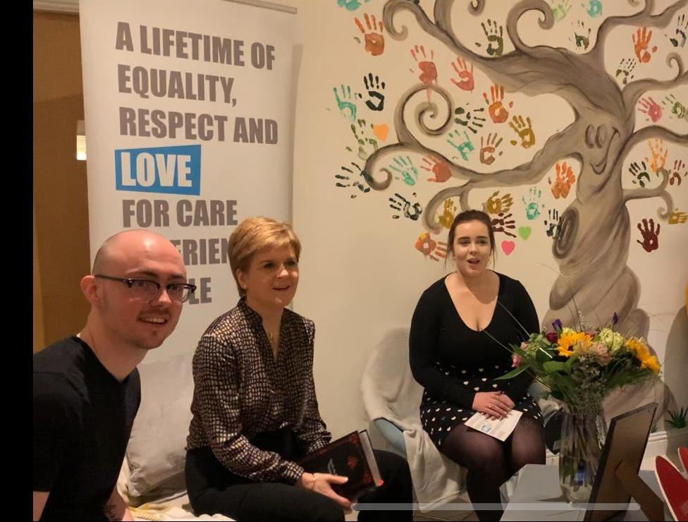 This morning @NicolaSturgeon joined us to begin #CareDay20. We spent time #reimagining the Scotland we can become for Care Experienced people, by learning from our history. All the way back to 1894BC right up to today. We took the opportunity to give a memento of thanks as well.