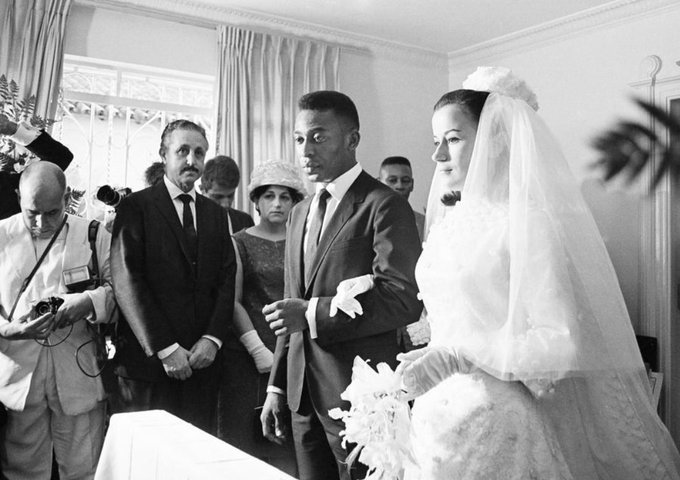 Pelé and Rosemeri dos Reis Cholbi at their wedding in Santos, Brazil on this date February 21 in 1966. Photo by Neville Makin. #OTD