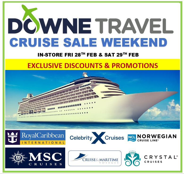 🔈🔈Downe Travel Downpatrick would like to invite you to our in-store cruise event Friday 28 Feb-Saturday 29 Feb🔈🔈 🔥🔥We have some fantastic promotions and EXCLUSIVE discounts🔥🔥 @jencallister @CMVoyages @crystalcruises @CelebrityUK @CruiseNorwegian @MSCTravelAgents https://t.co/yQGXuYbVcl