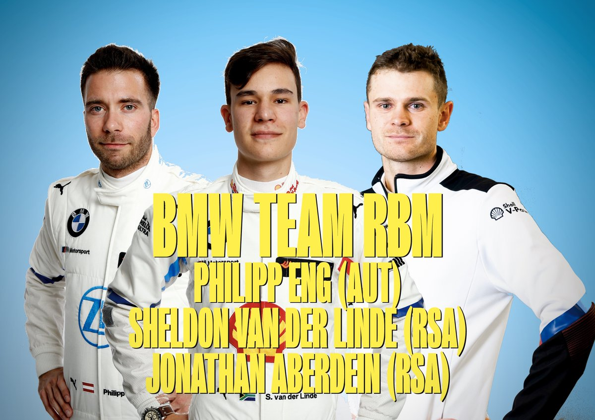 And here's BMW Team RBM's 2020 line-up:  @Philipp_Eng 🇦🇹 @SheldonvdLinde 🇿🇦 @j_aberdein 🇿🇦  #DTM2020 🏆