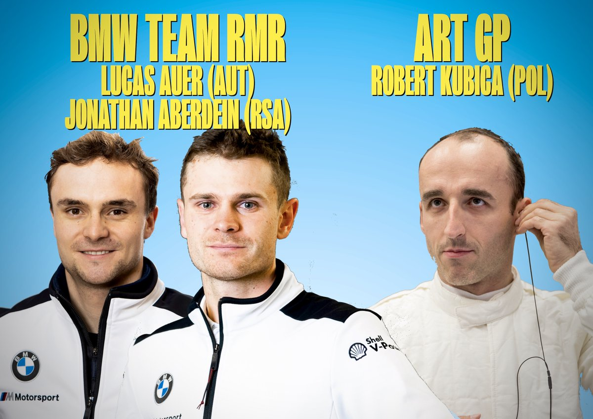BMW's 'third' works squad is Team RMR, which consists of:  @LucasAuer1 🇦🇹 @j_aberdein 🇿🇦  Plus, ART GP's privateer entry for:  #RobertKubica 🇵🇱