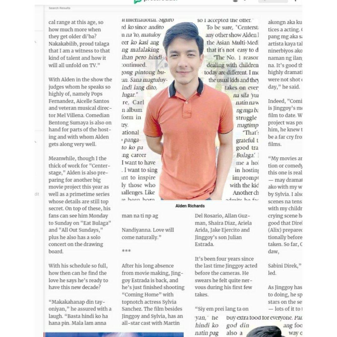 1. preparing for a big movie project  2. top secret tv series  3.about love.makakahanap din daw sya nun.basta hindi nya hahanapin.malalaman natin pag nandyan na. love will come naturally  so wala pa?tama ba ako ng intindi? #ALDENRichards  @aldenrichards02  https://www.pressreader.com/philippines/manila-times/20200221/281543702947060…pic.twitter.com/bPTHHBLyMm
