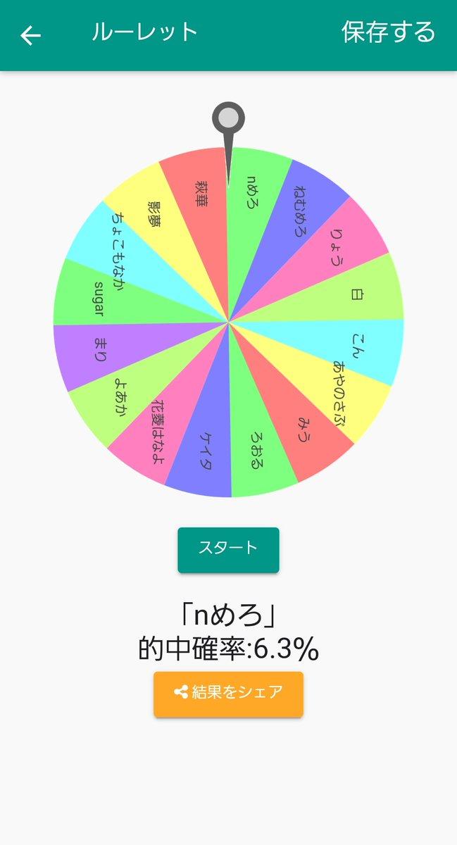 ルーレットの結果「nめろ」になりました!(的中確率:6.3%)@dexh_#ふつうのルーレット【Android】【iOS】
