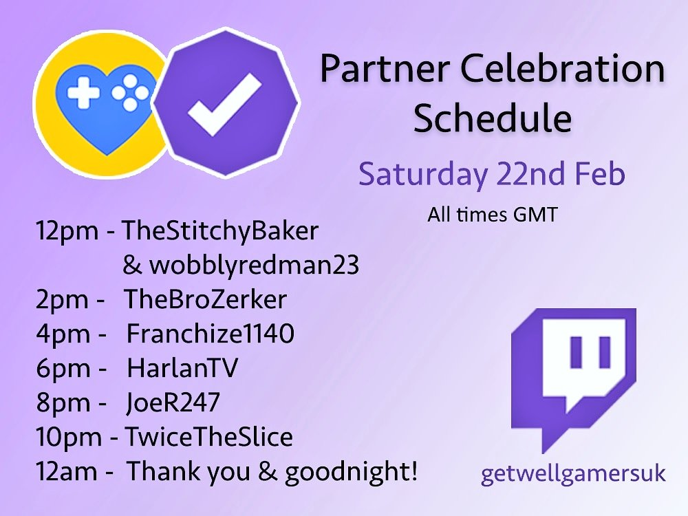 Look what's starting at 12pm GMT tomorrow!  Our #TwitchPartner celebration stream with special GWG guests!  Our channel will be live for 12 hours with all different games and streamers!  Head over to http://twitch.tv/GetWellGamersUK and hit that follow button so you don't miss a thing!pic.twitter.com/XGmM2A2Kxj