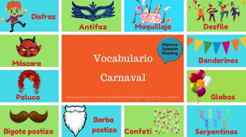 Vocabulary: carnival in Spanish.  Spanish graded novels with audio, English/Spanish chapter summaries, vocabulary, quiz, grammar...  http://improve-spanish-reading.webnode.es  #Spanish #learnspanish #spanischclearnen #gradedreaders #spanishtweet #spanisch #kindlebookpic.twitter.com/424SEcSMNd