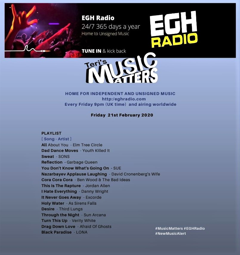 Today's @EGHRadio #MusicMatters 9~10pmGMT, you will hear smashing new music and a little more than a few words from #GarbageQueen @BenWoodBadIdeas @ExcordeOfficial @ThirdLungUK and @VeeBear! #TuneIn #ListenHere #NewMusic https://www.facebook.com/MusicMattersWithTeri/… #MusicFridaypic.twitter.com/omEEWQRJKv