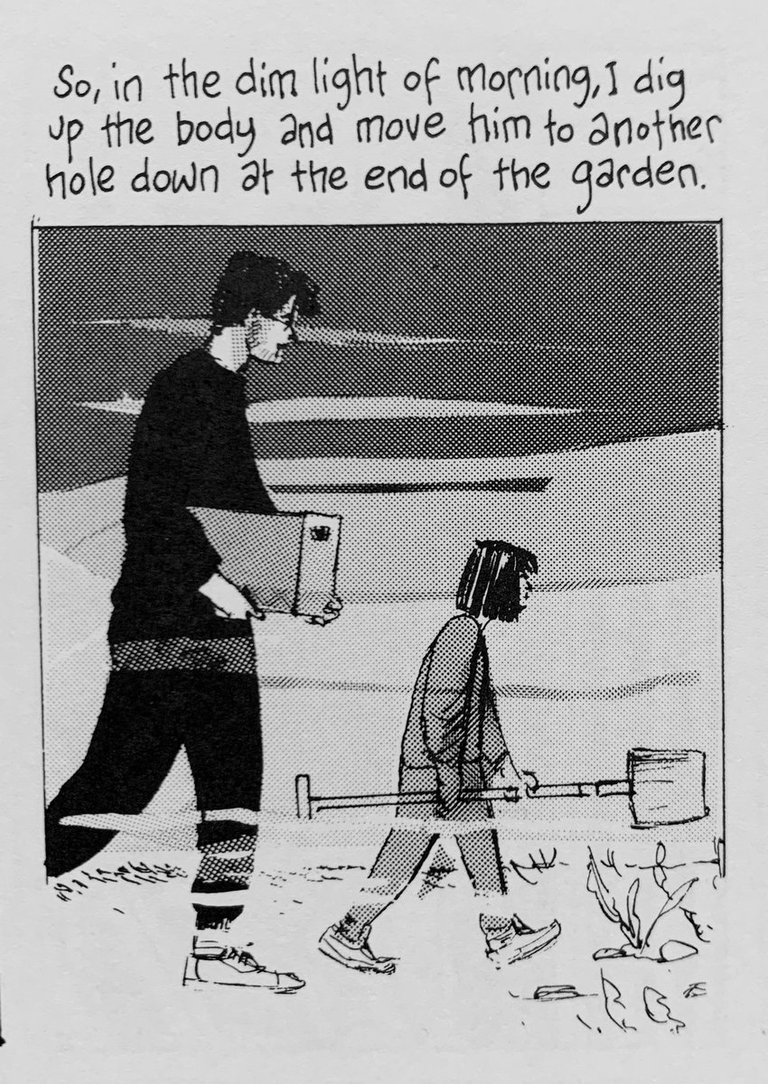 Reading my dad's comics. Here's me as a tiny assistant gravedigger.