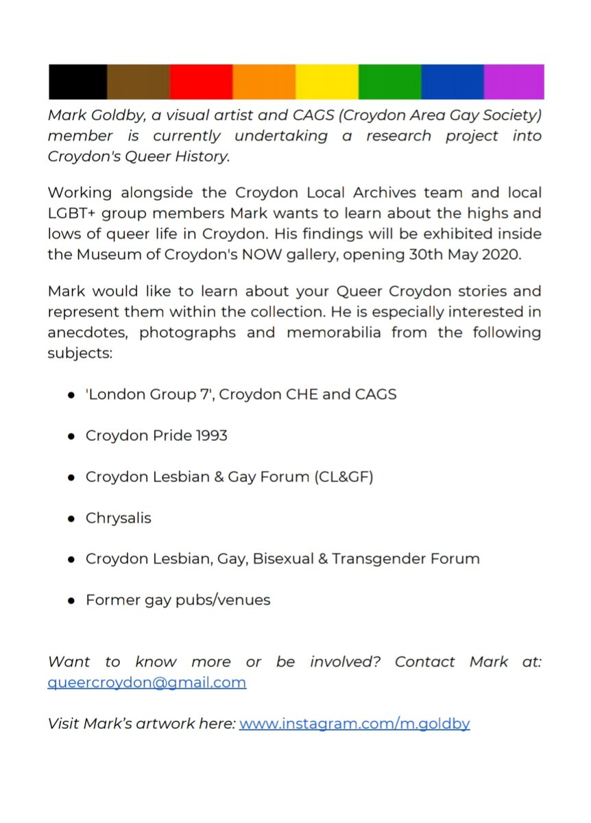 @m_goldby has been working closely with us and our archive materials to create a queer archive here at the Museum of Croydon. If you think you're able to contribute to Mark's work, please get in touch with him.  #museumofcroydon #queerarchives #croydonareagayspic.twitter.com/EqWZM9sfP1